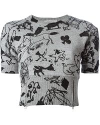 Carven Printed Cropped Sweater - Lyst