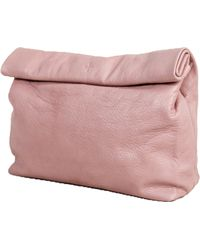 Marie Turnor Lunch Clutch In Pink Pebble Leather - Lyst