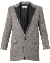 Saint Laurent Single Breasted Tweed Jacket - Lyst