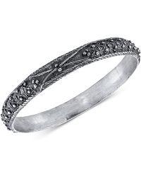 Tru. - Floral Etched Bangle Bracelet - Lyst