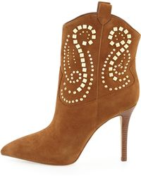 Michael by Michael Kors Reena Studded Suede Bootie - Lyst