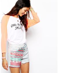 Native Rose High Waisted Denim Shorts With Tapestry Patchwork - Lyst