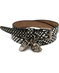 Alexander McQueen Grey Abstract Print Leather Double Wrap Skull Bracelet - Lyst