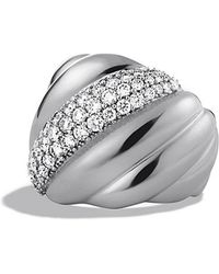 David Yurman Sculpted Cable Ring With Diamonds - Lyst