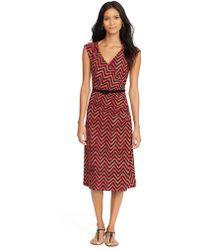Lauren by Ralph Lauren Chevron Jersey Surplice Dress - Lyst
