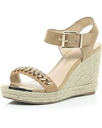 River Island Beige Leather Chain Front Espadrille Wedges beige - Lyst