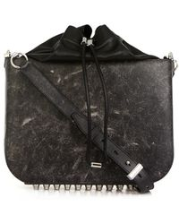 Alexander Wang Distressed Leather Flat Bucket Bag - Lyst