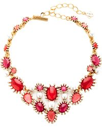 Oscar de la Renta Gold-Plated Crystal And Faux-Pearl Necklace - Lyst