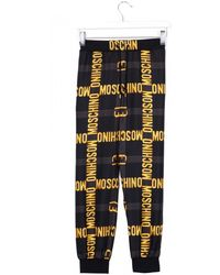Moschino Black Silk Trousers Golden Print - Lyst