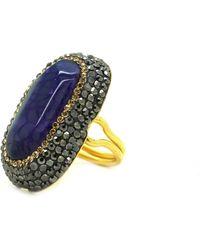 Soru Jewellery - Purple Agate Ring Gold - Lyst