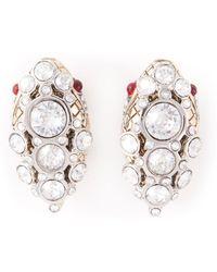 Roberto Cavalli Swarovski Embellished Earrings - Lyst