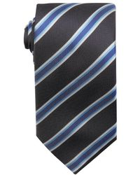 Hugo Boss Bright Blue And Grey Stripe Printed Silk Tie - Lyst