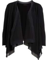 Donna Karan New York Draped Front Cardigan With Silk - Lyst