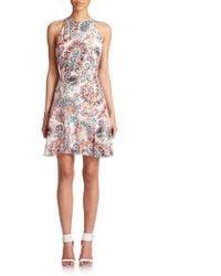 Shoshanna Printed Silk Halter Dress - Lyst