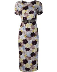 Suno Floral Cut Out Dress - Lyst
