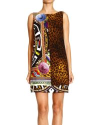 Versace Dress Short Sleeves Psychedelic Medusa Embrodery - Lyst