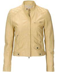 Stefanel Washed Leather Biker Jacket - Lyst
