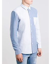 Topman Blue Long Sleeve Stripe Shirt - Lyst