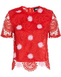 House of Holland Floral-Appliqué Paisley-Lace Top - Lyst