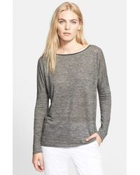 Vince Long Sleeve Drop Shoulder Tee With Piping - Lyst