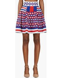 Alexander McQueen Blue and Red Knit Check Circle Skirt - Lyst