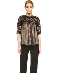 Marchesa Swing Lace Top - Black - Lyst