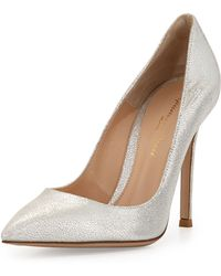 Gianvito Rossi Crackled Metallic Leather Point-Toe Pump - Lyst