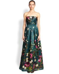 Kay Unger Strapless Floral Silk Gown - Lyst