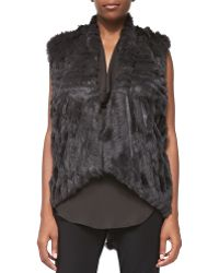 Haute Hippie Detachable-sleeve Rabbit Fur Jacket Graphite X-small - Lyst
