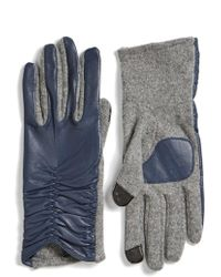 Echo - 'touch' Ruched Leather Gloves - Lyst