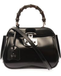 Gucci Lady Lock Mini Leather and Bamboo Bag - Lyst