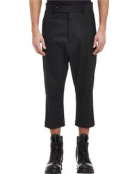 Rick Owens Cropped Tuxedo Trousers - Lyst