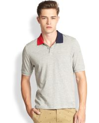 Band Of Outsiders Colorblock Cotton Polo Tee - Lyst