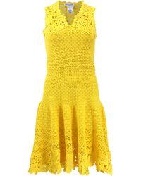 Oscar de la Renta Drop Waist Crochet Dress - Lyst