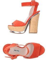 Miu Miu Red Sandals - Lyst