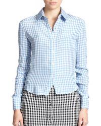 Altuzarra Volpone Ruched Gingham Shirt blue - Lyst