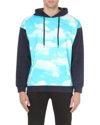 Moschino Cloud Print Cotton Jersey Hoody Blue - Lyst