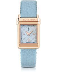 Trussardi - Rose Gold Stainless Steel W/Light Blue Leather Strap Women'S Watch - Lyst