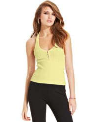Guess Ribbedknit Halter Top - Lyst