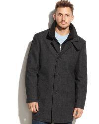 Calvin Klein Woolblend Charcoal Herringbone Over Coat - Lyst