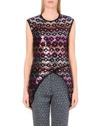 Dries Van Noten Sequinned Asymmetric-Hem Silk Top - For Women - Lyst