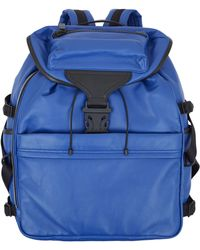 Alexander McQueen Blue Ribcage Tech Leather Backpack - Lyst