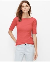 Ann Taylor Cotton Boatneck Tee orange - Lyst