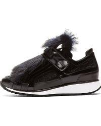 Pierre Hardy Black Fur Accent Sneakers - Lyst