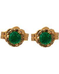 Anna Sheffield - Gold Tiny Emerald Rosette Earrings - Lyst