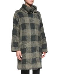 Rag & Bone Cammie Check Sweater Coat Dusty Olive Medium - Lyst