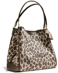 COACH - Madison Small Phoebe Shoulder Bag in Ocelot Jacquard - Lyst