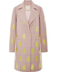 Honor Mauve and Neon Tulip Jacquard Coat - Lyst