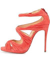 Christian Louboutin Kashou Suede Red Sole Sandal - Lyst