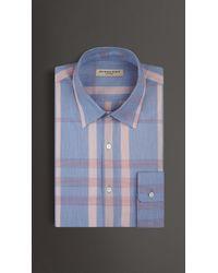Burberry Modern Fit Check Cotton Silk Shirt blue - Lyst